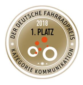 Deutscher Fahrradpreis 2018 erster Platz Kategorie Kommunikation