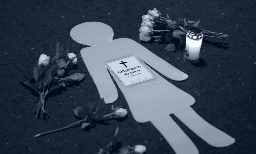 Mahnwache für eine getötete Fußgängerin