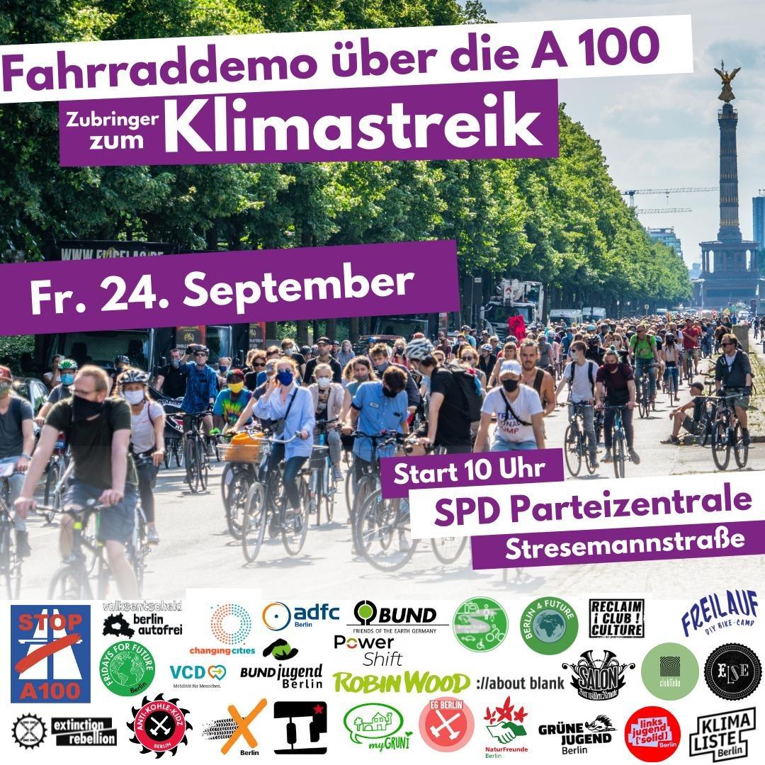 Fahrraddemonstration auf der A100 zum Klimastreik am 24. September